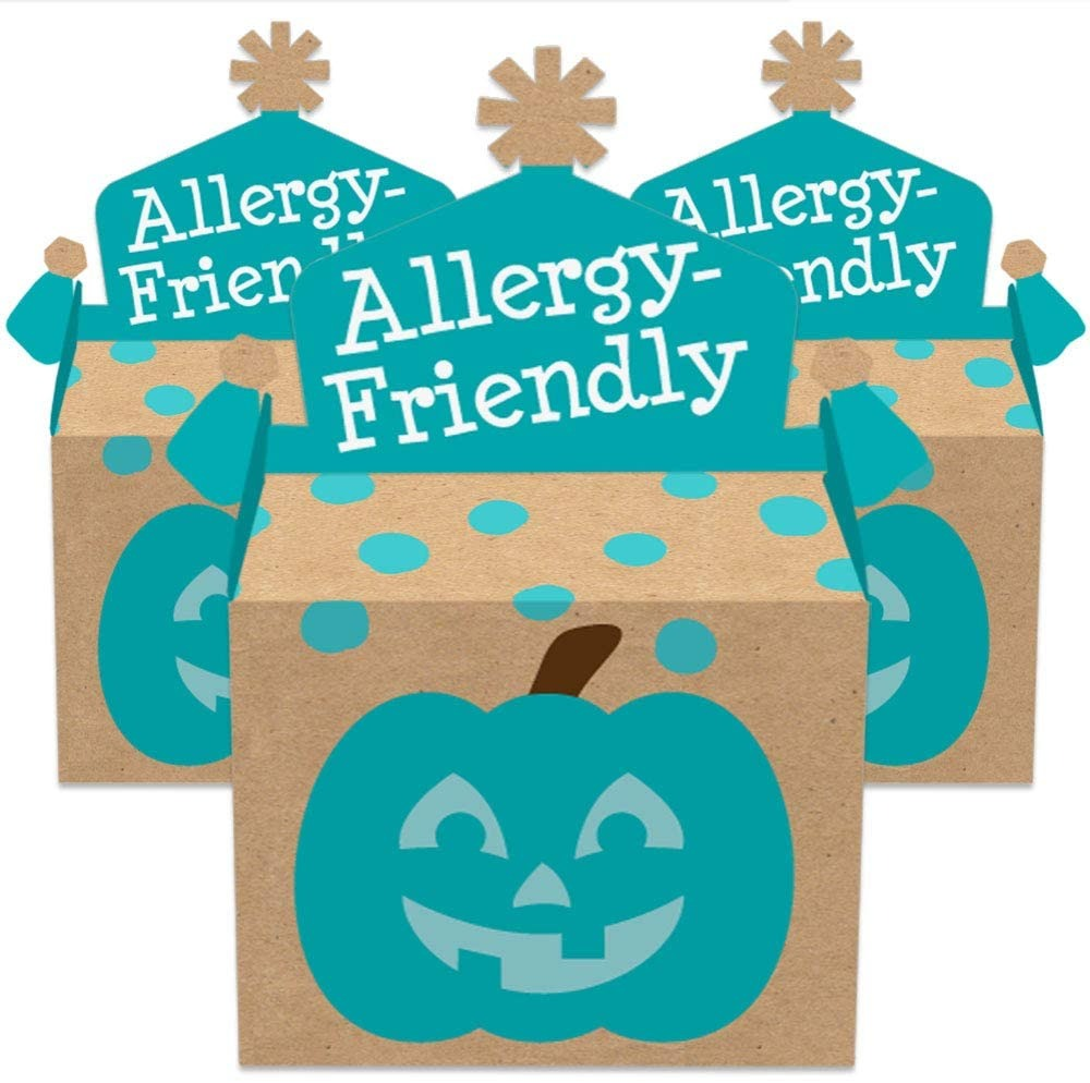 Teal Pumpkin - Treat Box Party Favors - Halloween Allergy Friendly Trick or Trinket Goodie Gable Boxes